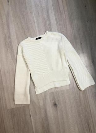 Вкорочений светр джемпер пуловер кофта з рукавами воланами / свитер с объёмными вязаный