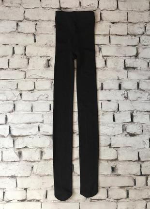 Чорні колготки капронові плотної щільності микрофибра утеплені флисом