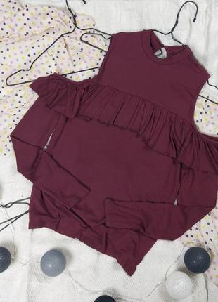Лонгслив блуза кофточка с вырезами на плечах atmosphere