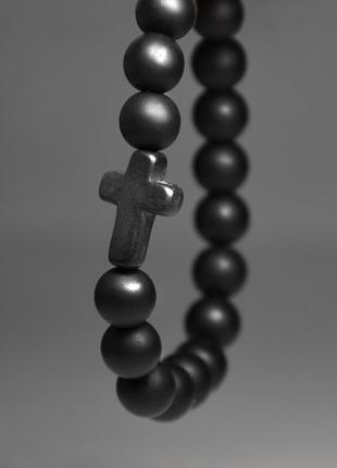 """Мужской браслет с """"крестом"""" из натурального камня - шунгита"""