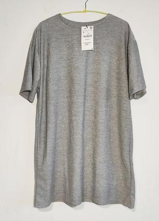 Платье футболка zara с люрексной нитью
