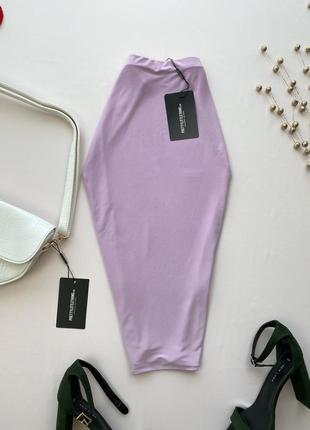 Сиреневая юбка миди , двойная ткань prettylittlething