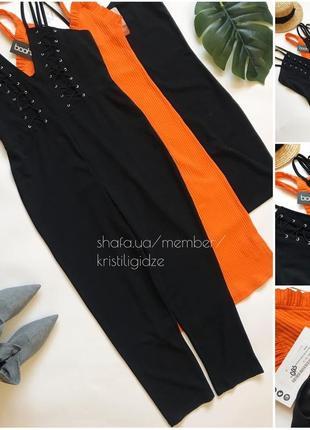 Шикарный чёрный ромпер с брюками комбинезон от boohoo. р.м