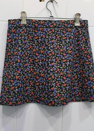 Милая плотная юбка в цветочный принт