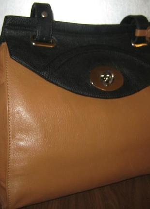 Шикарная большая женская кожаная сумка ручка на плечо кожа betty jackson