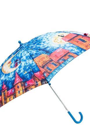 Зонт трость детский полуавтомат lamberti девочка и кот