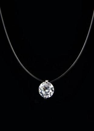 Женское ожерелье  искусственный бриллиант на прозрачной леске