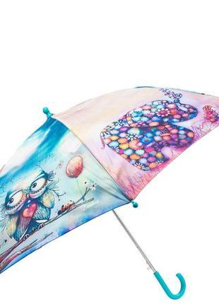 Зонт трость детский полуавтомат lamberti слон и сова