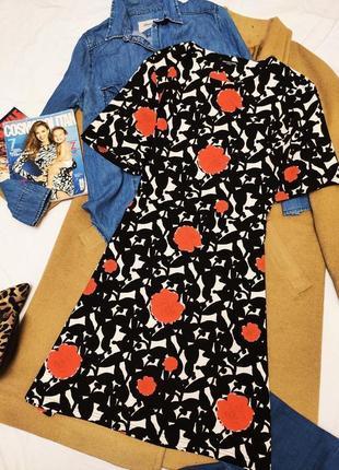 Collection london платье чёрное белое в красный цветочный принт классическое