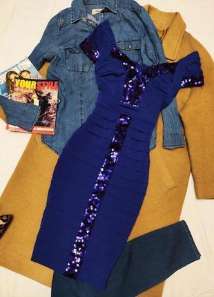 Teatro платье миди синее с фиолетовыми пайетками классическое по фигуре футляр