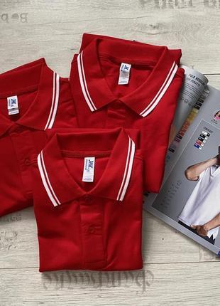 Красная футболка поло тенниска 100% хлопок размеры
