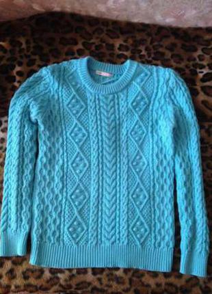 Бирюзовый свитер oodji