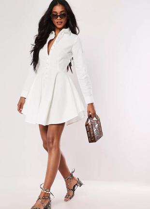 Missguided платье новое белое с жемчужными пуговицами хлопок коттон базовое