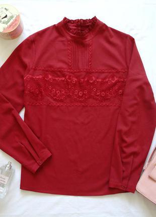 Блуза tu цвета вина или бордо, плотный шифон, вставка кружево