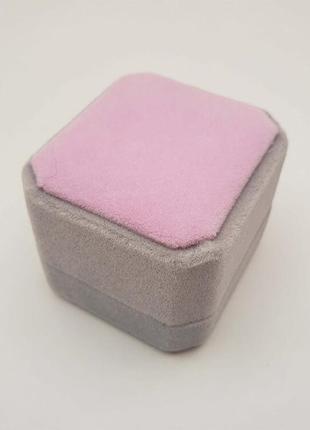 Коробочка для кольца серо-розовая