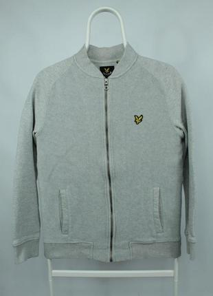 Стильная кофта-бомбер lyle&scott light grey sweatshirt bomber ml503