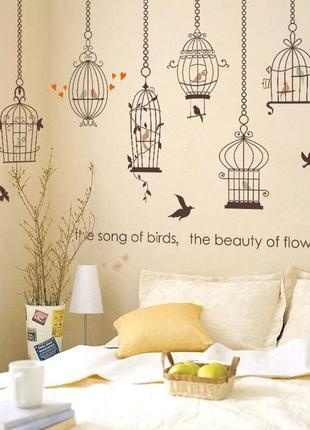 """Виниловая интеьерная наклейка-стикер на стену """"птички в клетках"""""""