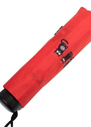 Зонт красный компактный механический artrain котики