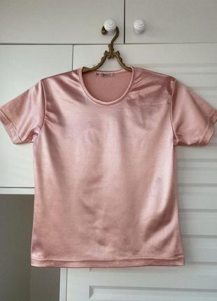 Простая lycra розовая футболка с отблеском атлас