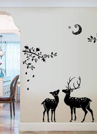 """Виниловая интерьерная наклейка-стикер на стену """"северные олени"""""""