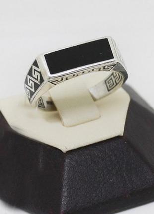 Кольцо серебряное с эмалью и агатом