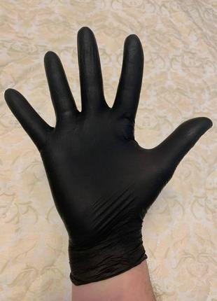 Перчатки нитриловые без пудры черные beybi  s, m, l