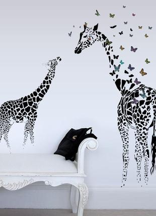 """Виниловая интерьерная наклейка-стикер на стену """"мама и малыш жираф"""""""
