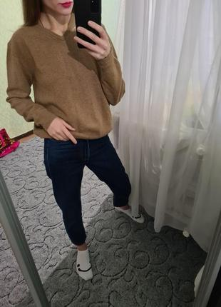 Мягенький шерстяной 100% свитер, джемпер оверсайз