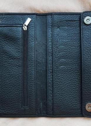 Брендовое черное кожаное портмоне кошелек купюрница vif bags натуральная кожа