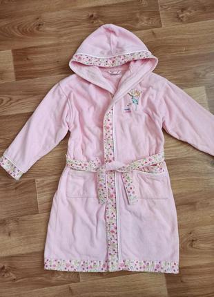 Очень красивый качественный розовый халат на девочку 7-10 лет хлопок