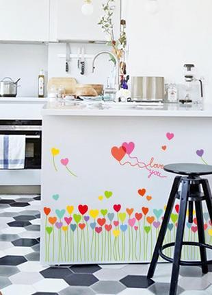 """Виниловая интерьерная наклейка на стену, обои, стекло """"сердечки"""""""