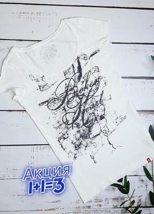 1+1=3 женская белая хлопковая футболка с рисунком edc, размер 46 - 48