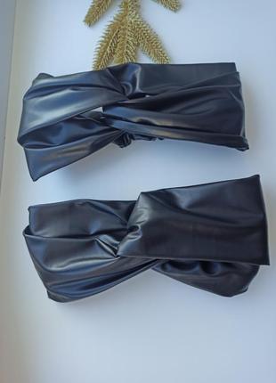 Кожаная повязка чалма узелок ободок эко кожа
