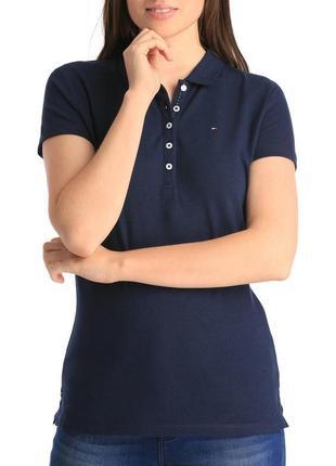 1+1=3 базовая темно-синяя женская футболка поло tommy hilfiger оригинал, размер 48 - 50