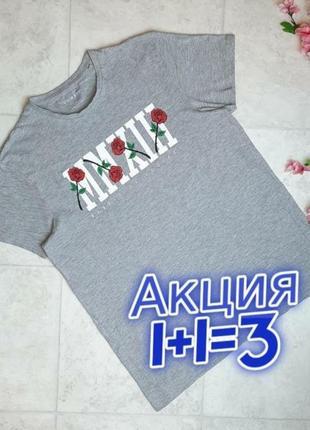 1+1=3 шикарная серая футболка с розами primark, размер 48 - 50
