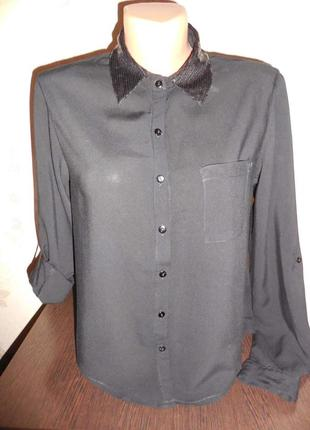 Рубашка- блуза *tally weijl* воротник в паеточках, р.xs-s.. 36 (42-44)