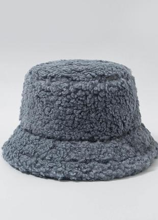 Женская меховая зимняя шапка панама теплая плюшевая (тедди, барашек, каракуль) серый
