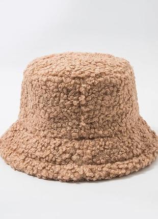 Женская меховая зимняя шапка панама теплая плюшевая  (тедди, барашек, каракуль) хаки