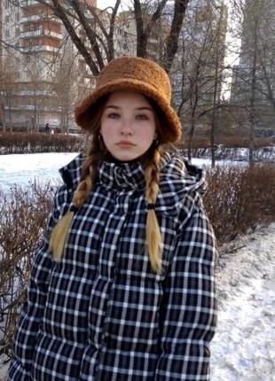Женская меховая зимняя шапка панама теплая плюшевая пушистая (тедди, барашек, каракуль)