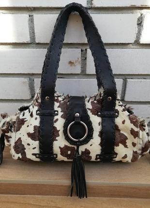 Шкіряна фірмова англійська сумка з натурального хутра корови next!!!