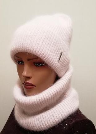 Стильный комплект шапка и бафф ангора 56-58 карамель
