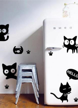 """Виниловая интерьерная наклейка-стикер на стену, мебель, обои """"котики"""""""