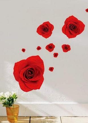 """3d наклейка-стикер на стену, мебель, обои """"красные розы"""""""