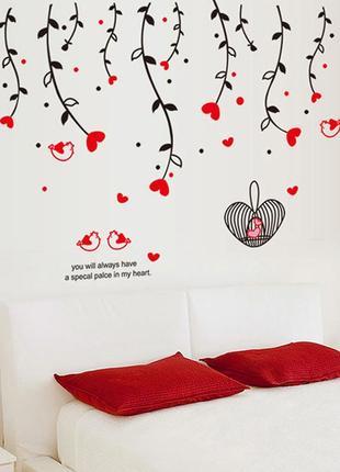 """Виниловая интерьерная наклейка на стену, обои, стекло """"влюбленные сердца"""""""