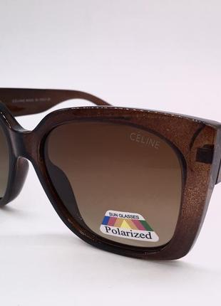 Celine очки женские солнцезащитные коричневые с линзами градиент поляризация
