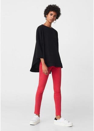 Узкие джинсы скинни красные размер s высокая талия