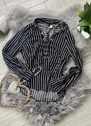 Рубашка в полоску на шнуровке блузка кофта тельняшка