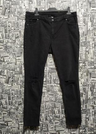 Джинсы скинни с рваными коленями, штаны рванки от h&m, большой размер.