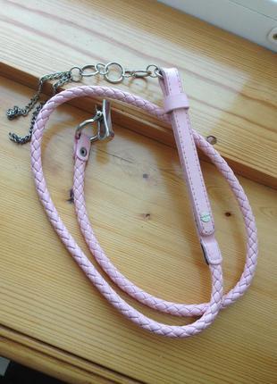Нежно-розовый тонкий ремень пояс жгут лето