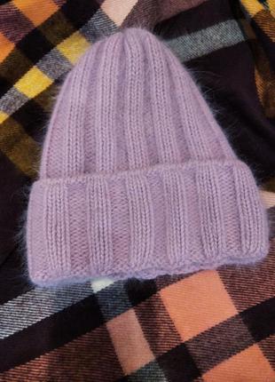 Теплая мягкая мохеровая шапка с подкладом